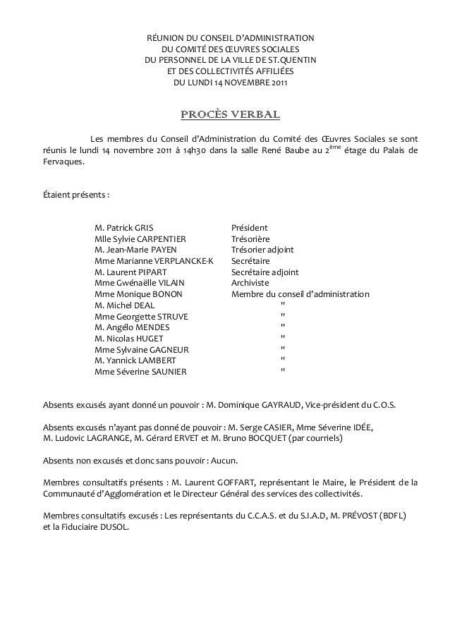 RÉUNION DU CONSEIL D'ADMINISTRATION DU COMITÉ DES ŒUVRES SOCIALES DU PERSONNEL DE LA VILLE DE ST.QUENTIN ET DES COLLECTIVI...