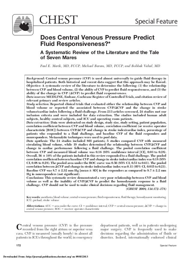 Does Central Venous Pressure Predict Fluid Responsiveness?* A Systematic Review of the Literature and the Tale of Seven Ma...