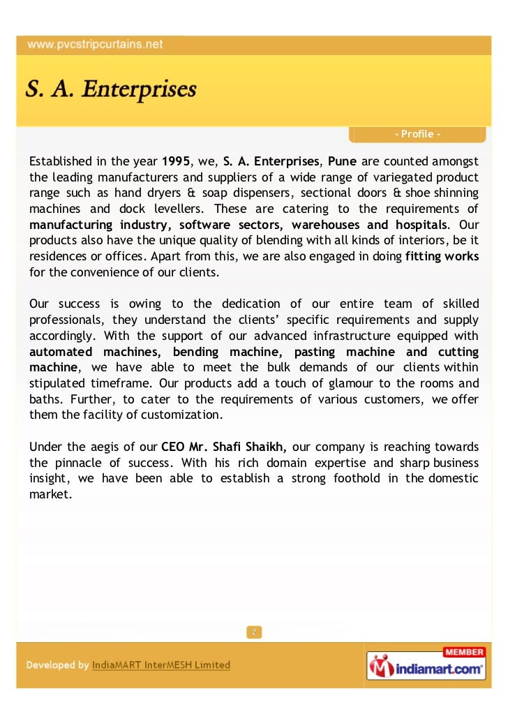 - Profile -Established in the year 1995, we, S. A. Enterprises, Pune are counted amongstthe leading manufacturers and supp...