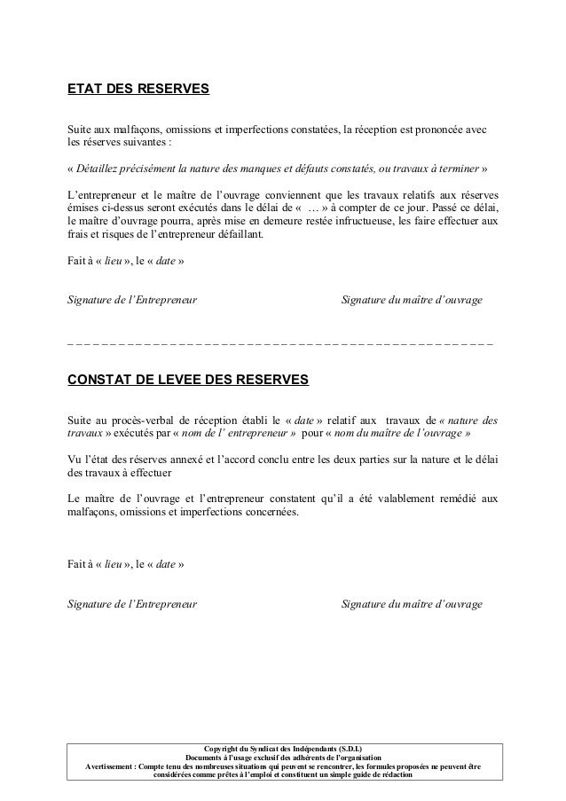 Modele de lettre levee de reserves apres travaux - Proces verbal de reception de travaux ...