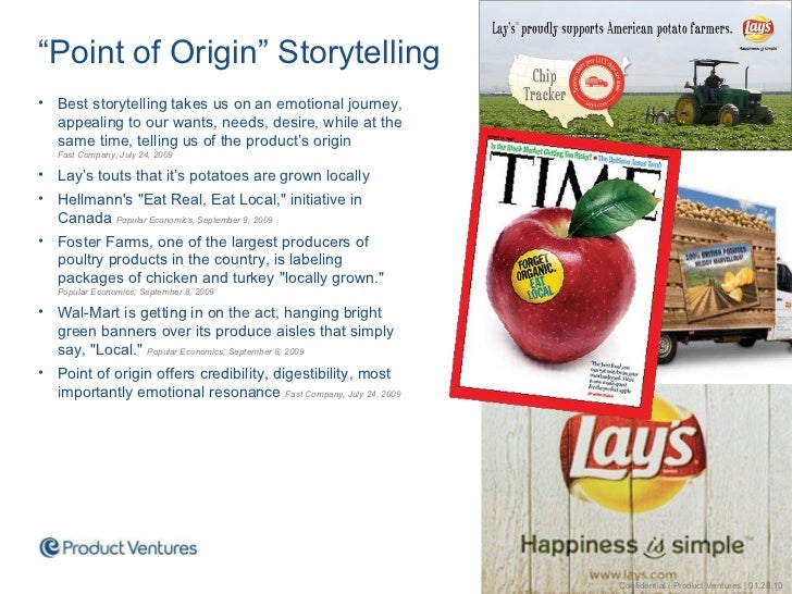 """<ul><li>"""" Point of Origin"""" Storytelling </li></ul><ul><li>Best storytelling takes us on an emotional journey, appealing to..."""