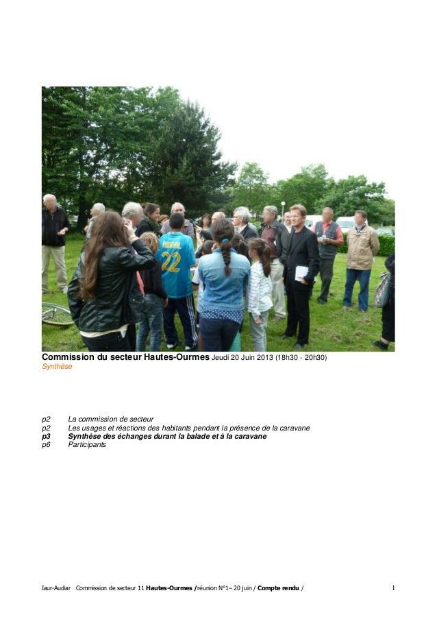 Iaur-Audiar Commission de secteur 11 Hautes-Ourmes /réunion N°1– 20 juin / Compte rendu / 1 Commission du secteur Hautes-O...