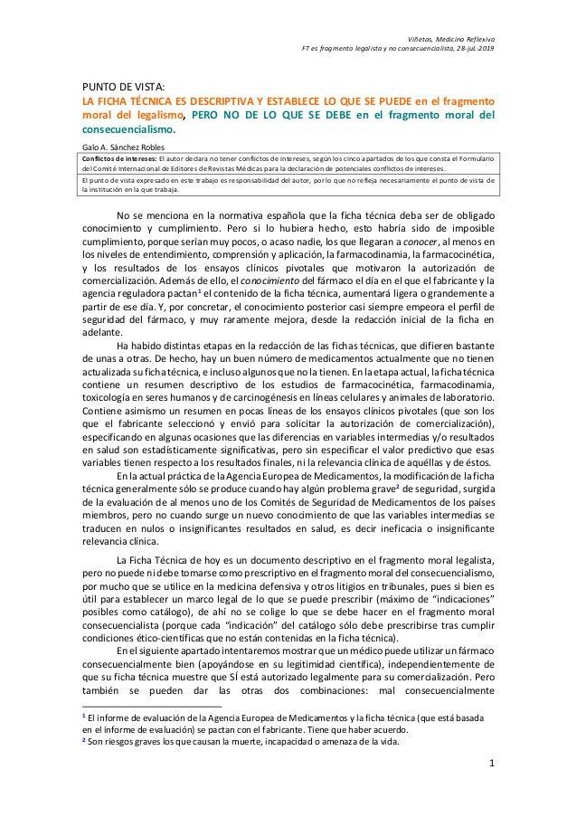 Viñetas, Medicina Reflexiva FT es fragmento legalista y no consecuencialista, 28-juL-2019 1 PUNTO DE VISTA: LA FICHA TÉCNI...