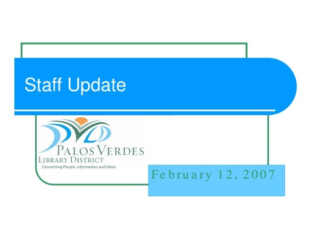 PVLD Staff Update