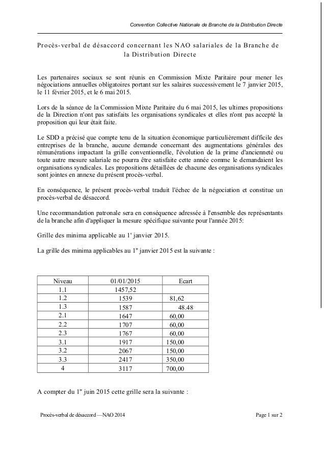Convention Collective Nationale de Branche de la Distribution Directe Procès-verbal de désaccord concernant les NAO salari...