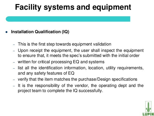 Process validation of api for Equipment installation qualification template