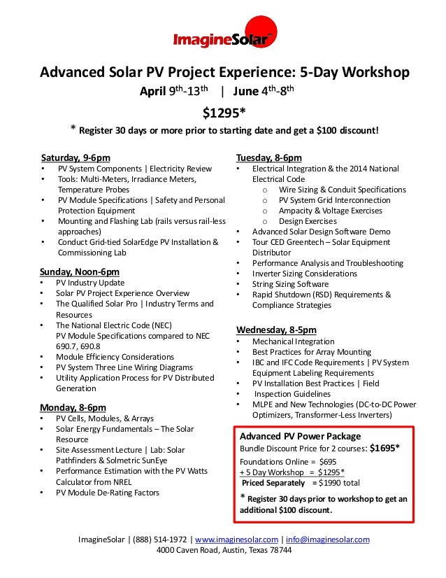 Advanced Solar PV Project Experience: Workshop Topic Schedule