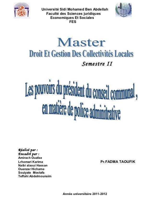 Université Sidi Mohamed Ben Abdellah                  Faculté des Sciences juridiques                     Economiques Et S...