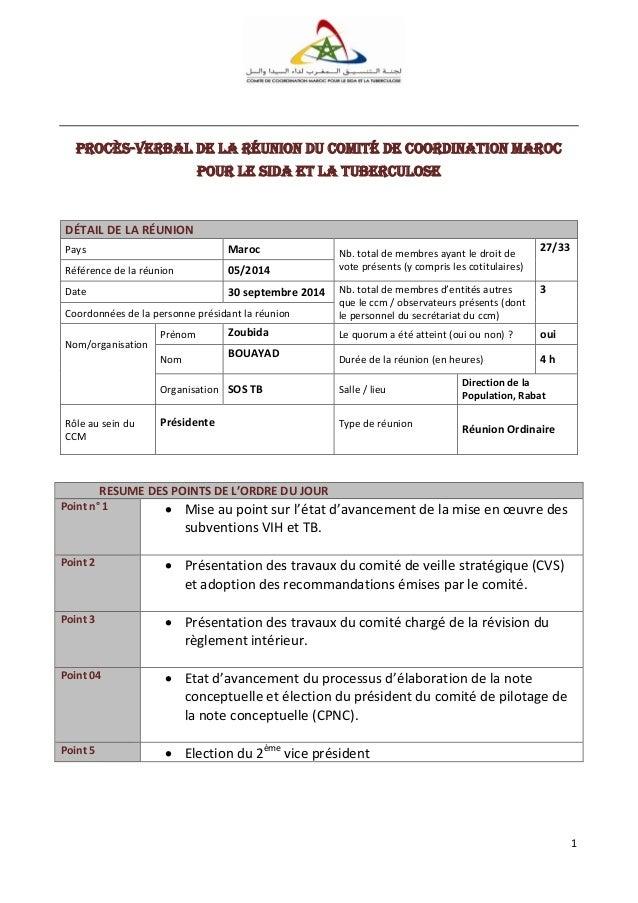 1 Procès-verbal de la réunion du Comité de Coordination Maroc pour le SiDA et la tuberculose DÉTAIL DE LA RÉUNION Pays Mar...