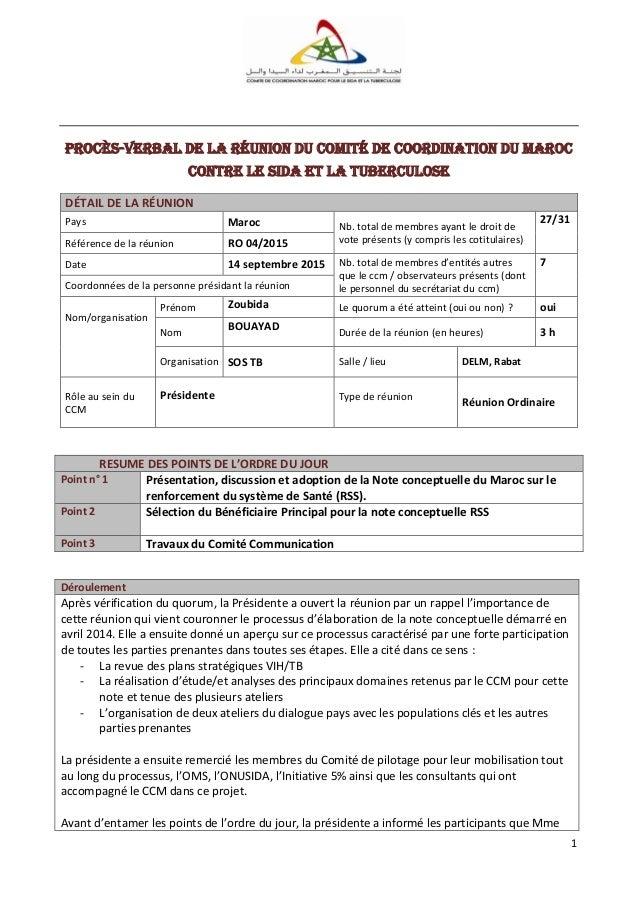 1 Procès-verbal de la réunion du Comité de Coordination DU Maroc contre le SiDA et la tuberculose DÉTAIL DE LA RÉUNION Pay...