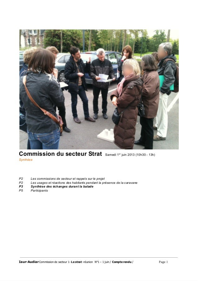 CommissiondusecteurStratSamedi1er juin2013(10h3013h) Synthèse P2 Lescommissionsdesecteuretrappelssurle...