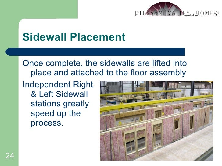 Sidewall Placement <ul><li>Once complete, the sidewalls are lifted into place and attached to the floor assembly </li></ul...