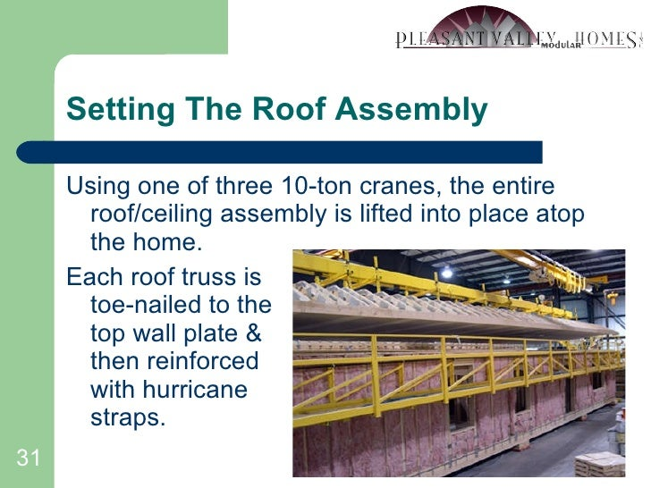 Setting The Roof Assembly <ul><li>Using one of three 10-ton cranes, the entire roof/ceiling assembly is lifted into place ...