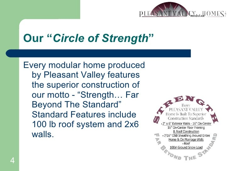 """Our """" Circle of Strength """" <ul><li>Every modular home produced by Pleasant Valley features the superior construction of ou..."""