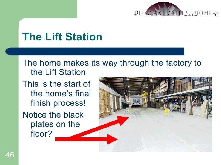 The Lift Station <ul><li>The home makes its way through the factory to the Lift Station. </li></ul><ul><li>This is the sta...