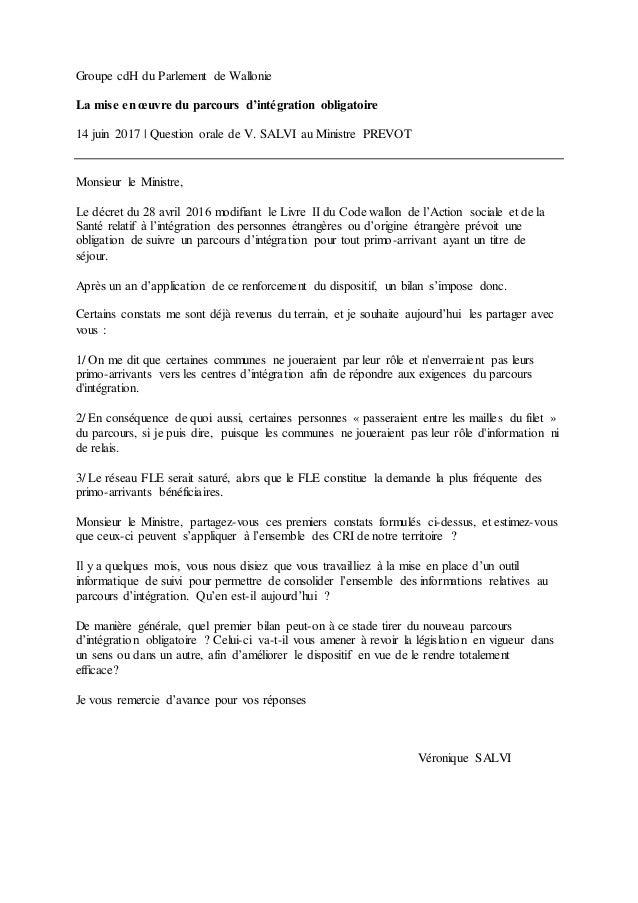Groupe cdH du Parlement de Wallonie La mise en œuvre du parcours d'intégration obligatoire 14 juin 2017 | Question orale d...