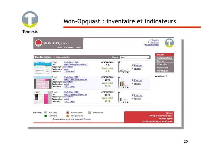Mon-Opquast : inventaire et indicateurs Temesis                                                         20