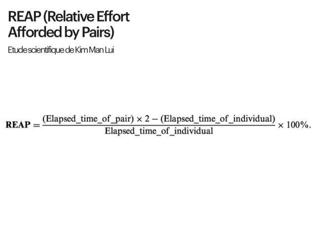 # REAP (Relative Effort Afforded by Pairs) : Etude scientifique de Kim Man Lui Sauf qu'un scientifique a réussit à démontr...