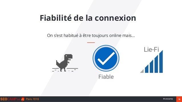 15#seocamp Fiabilité de la connexion On s'est habitué à être toujours online mais... Fiable Lie-Fi