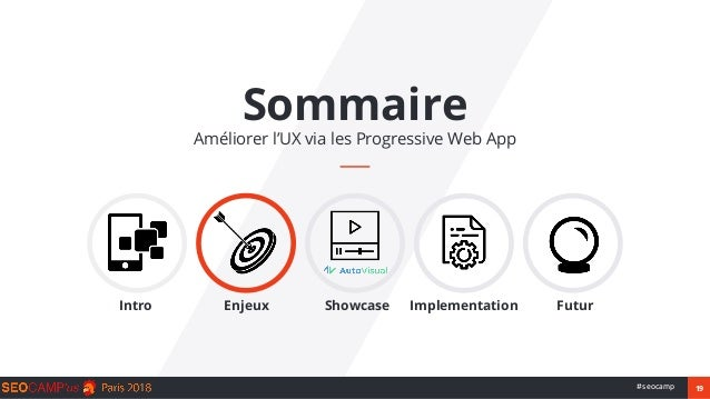 19#seocamp Sommaire Améliorer l'UX via les Progressive Web App Intro Enjeux Showcase Implementation Futur
