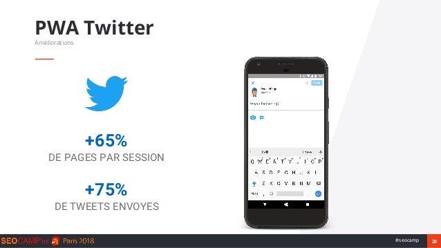20#seocamp PWA Twitter Améliorations +65% DE PAGES PAR SESSION +75% DE TWEETS ENVOYES