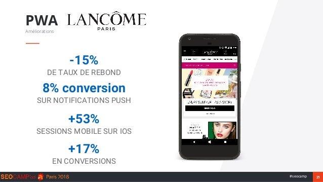 21#seocamp PWA Améliorations -15% DE TAUX DE REBOND 8% conversion SUR NOTIFICATIONS PUSH +17% EN CONVERSIONS +53% SESSIONS...