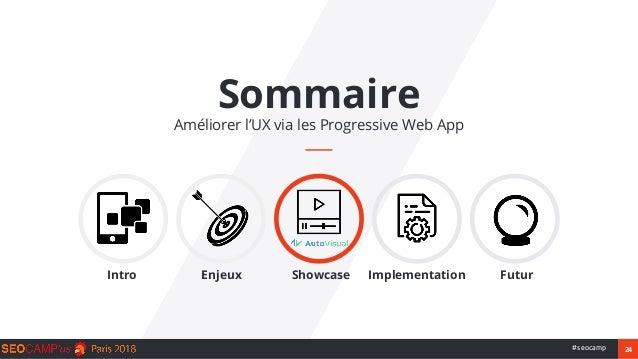 24#seocamp Sommaire Améliorer l'UX via les Progressive Web App Intro Enjeux Showcase Implementation Futur