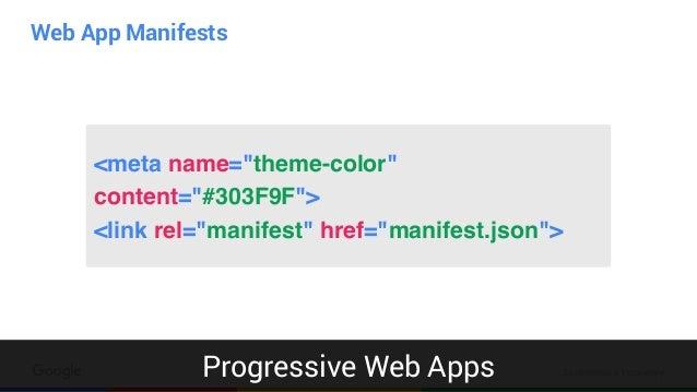 "Confidential & Proprietary Web App Manifests Progressive Web Apps <meta name=""theme-color"" content=""#303F9F""> <link rel=""m..."
