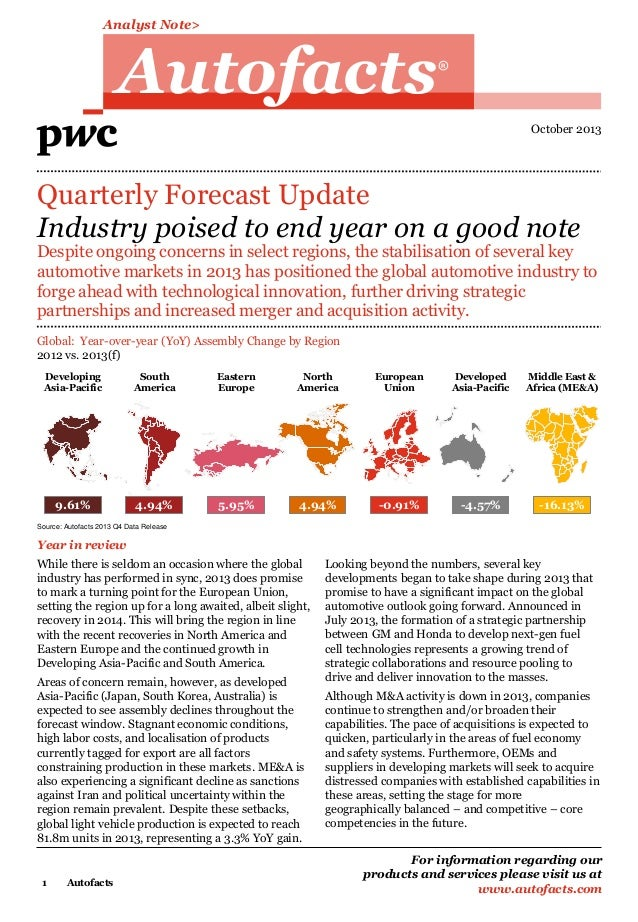 Analyst Note>  Autofacts  R  October 2013  Quarterly Forecast Update Industry poised to end year on a good note  Despite o...