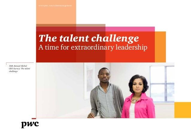 Etude PwC sur le point de vue des dirigeants concernant la gestion des talents (2013)