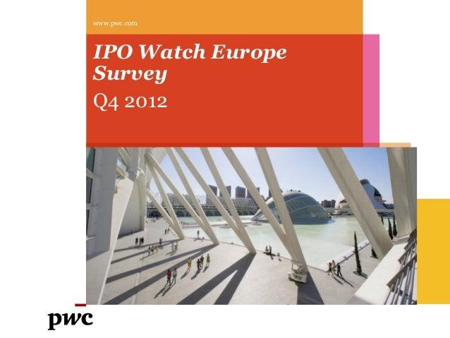 www.pwc.comIPO Watch EuropeSurveyQ4 2012