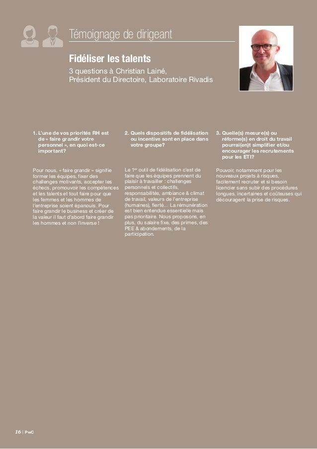 Étude Family Business France – septembre 2014 | 17 En matière de ressources humaines, deux constats se détachent cette ann...