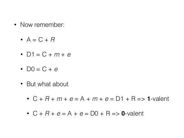 • Now remember: • A = C + R • D1 = C + m + e • D0 = C + e • But what about • C + R + m + e = A + m + e = D1 + R => 1-valen...