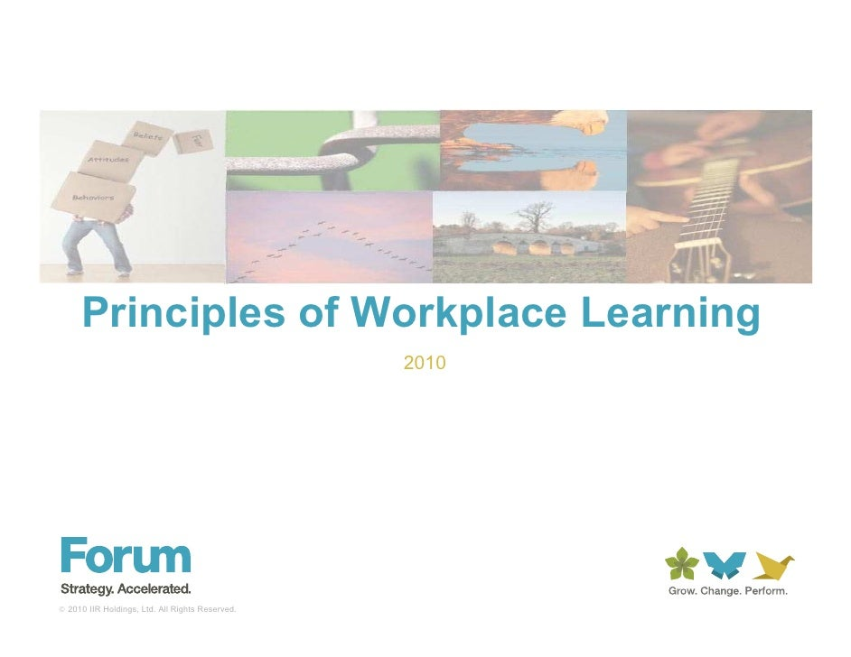 Principles of Workplace Learning                                                  2010     © 2010 IIR Holdings, Ltd. All R...