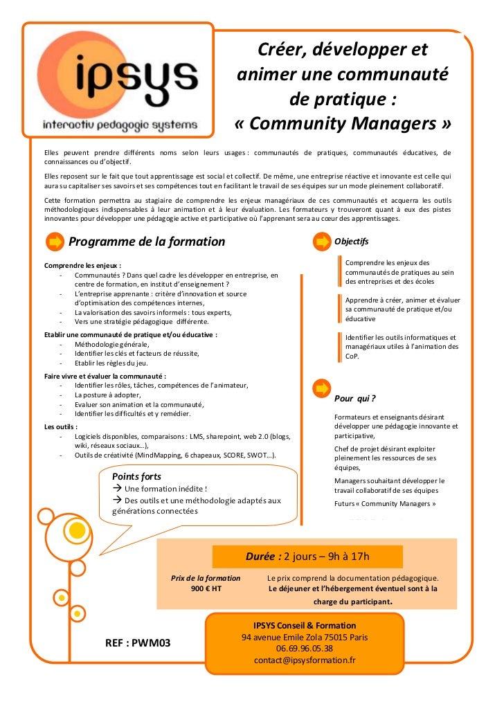 Créer, développer et                                                              animer une communauté                   ...