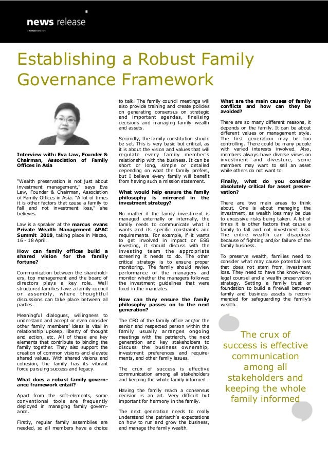 "Interview with: Eva Law, Founder & Chairman, Association of Family Offices in Asia ""Wealth preservation is not just about ..."