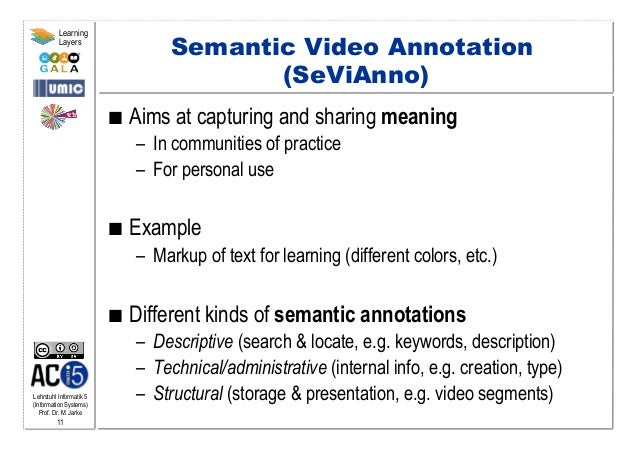 Lehrstuhl Informatik 5 (Information Systems) Prof. Dr. M. Jarke 11 Learning Layers Semantic Video Annotation (SeViAnno) ...