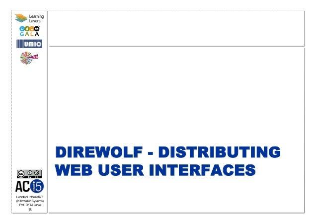 Lehrstuhl Informatik 5 (Information Systems) Prof. Dr. M. Jarke 18 Learning Layers DIREWOLF - DISTRIBUTING WEB USER INTERF...