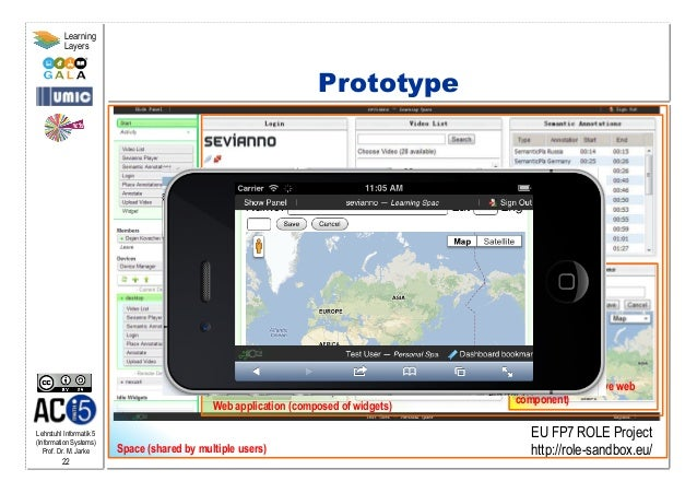 Lehrstuhl Informatik 5 (Information Systems) Prof. Dr. M. Jarke 22 Learning Layers Prototype Web application (composed of ...
