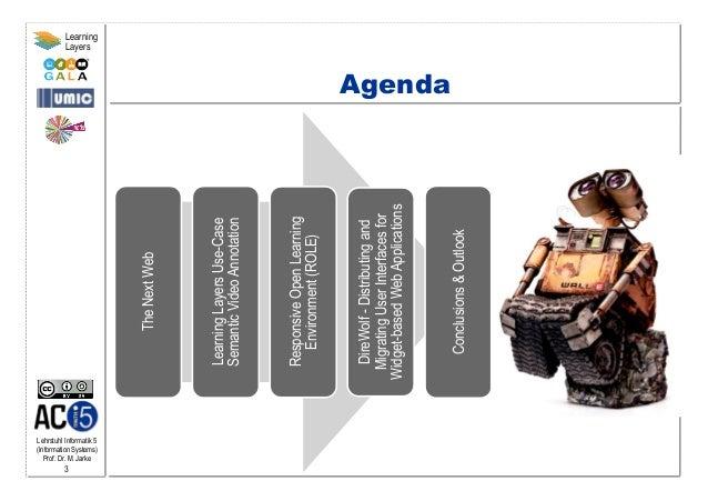 Lehrstuhl Informatik 5 (Information Systems) Prof. Dr. M. Jarke 3 Learning Layers Agenda TheNextWeb LearningLayersUse-Case...
