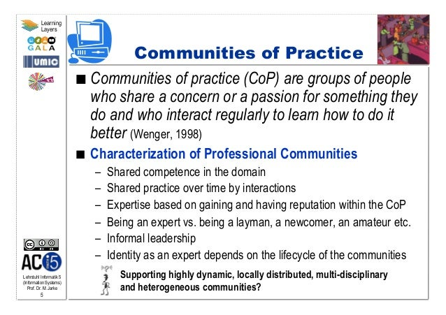 Lehrstuhl Informatik 5 (Information Systems) Prof. Dr. M. Jarke 5 Learning Layers Communities of Practice  Communities o...