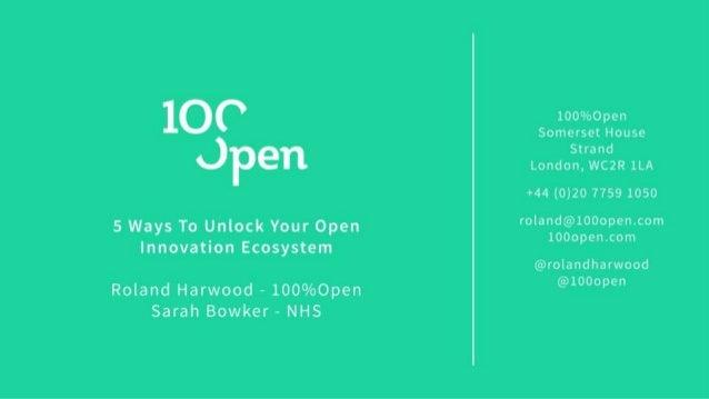 Unlocking Open Innovation Ecosystems