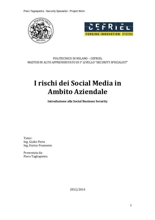 Piero Tagliapietra - Security Specialist - Project Work             1                           ...