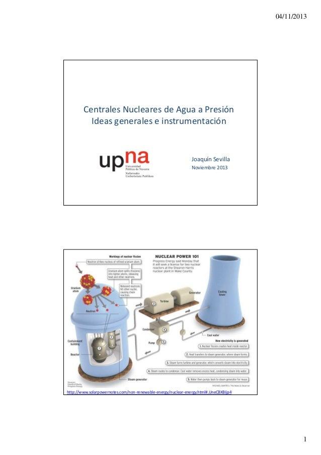 04/11/2013  Centrales Nucleares de Agua a Presión Ideas generales e instrumentación  Joaquín Sevilla Noviembre 2013  http:...