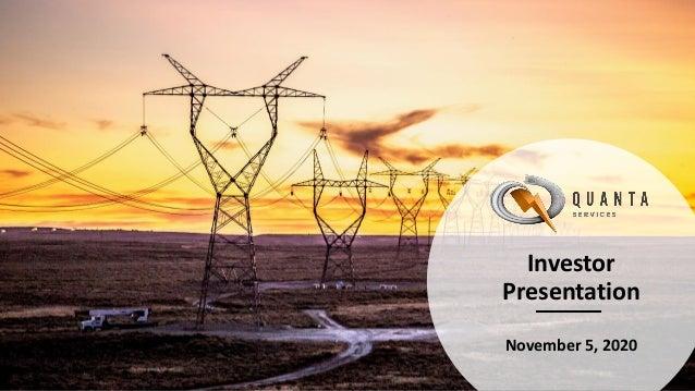Investor Presentation November 5, 2020