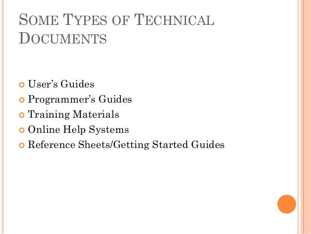 Technical writing service types of documents