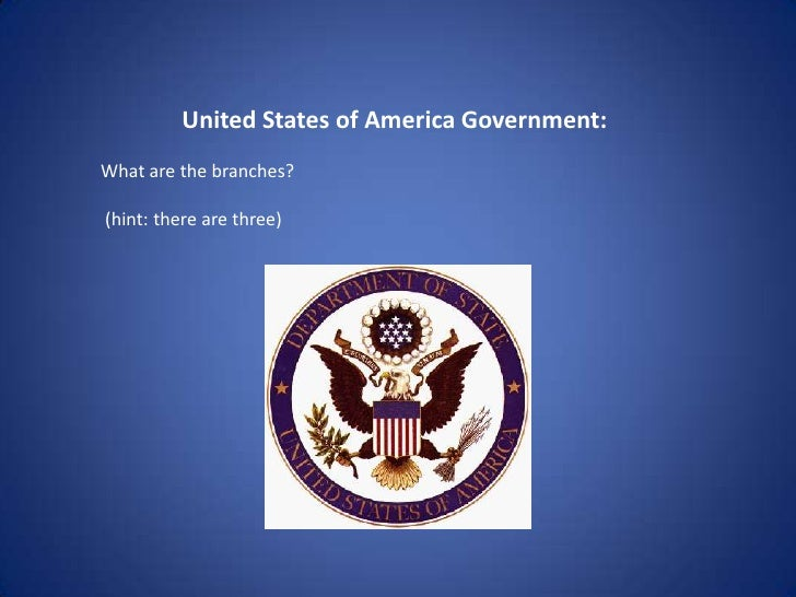 United States of America Government:<br />What are the branches? <br /> (hint: there are three) <br />