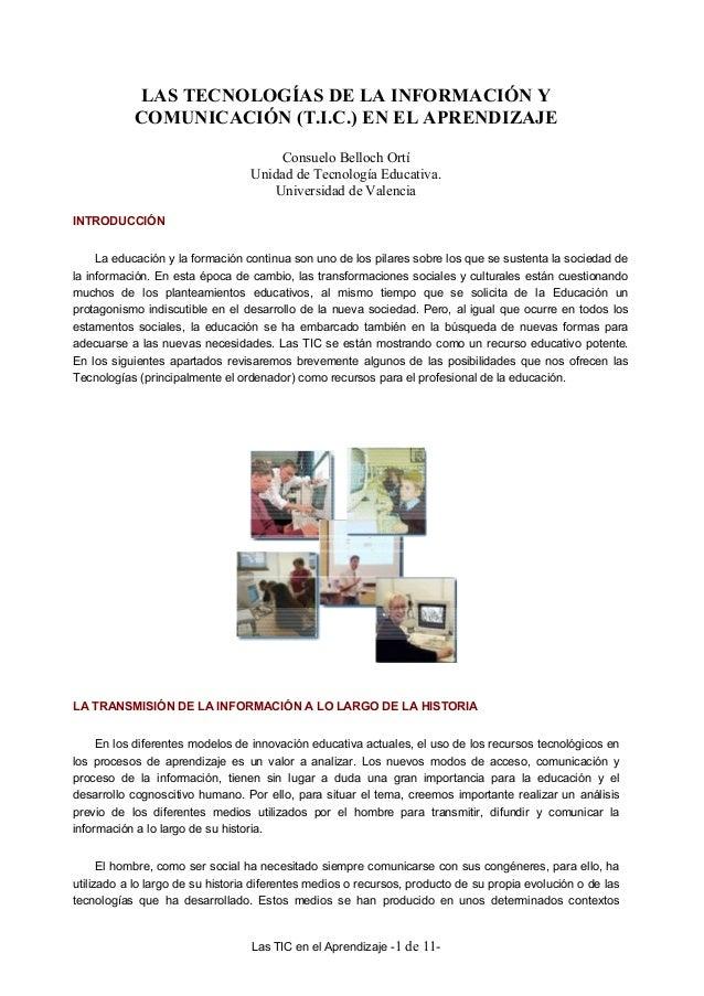 LAS TECNOLOGÍAS DE LA INFORMACIÓN Y           COMUNICACIÓN (T.I.C.) EN EL APRENDIZAJE                                     ...