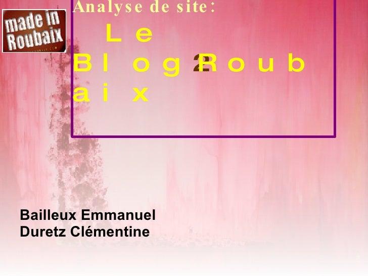Analyse de site: Le Blog 2 Roubaix Bailleux Emmanuel Duretz Clémentine