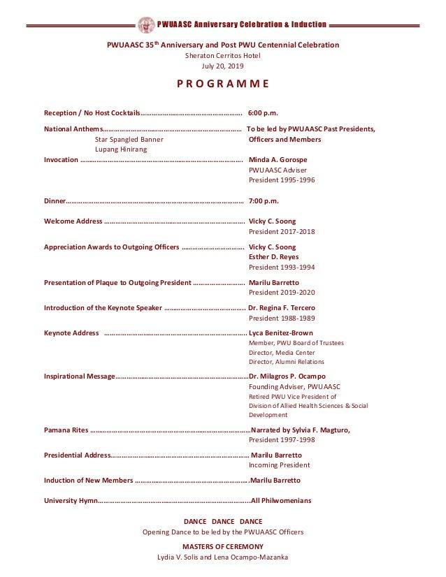 PWUAASC Anniversary Celebration & Induction PWUAASC 35th Anniversary and Post PWU Centennial Celebration Sheraton Cerritos...